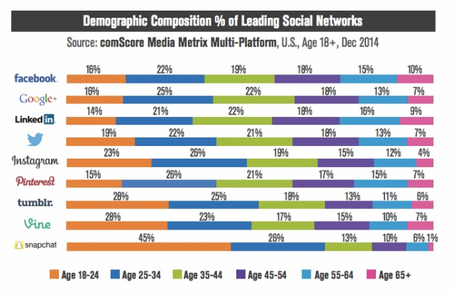 Snapchat has the highest users in Age 18-24 category